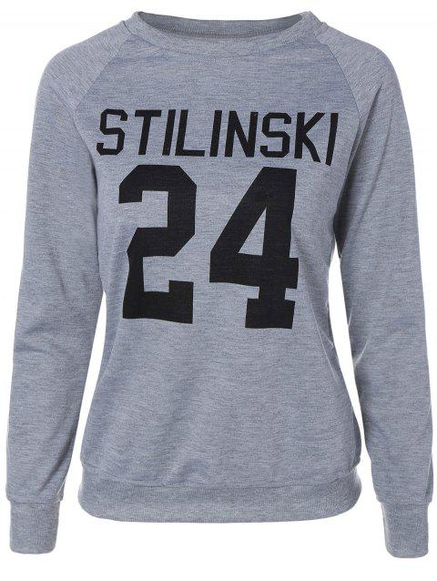 Letter Graphic Long Sleeve Sweatshirt - GRAY M