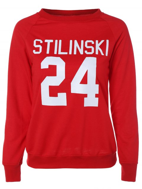 Letter Graphic Long Sleeve Sweatshirt - RED/WHITE M