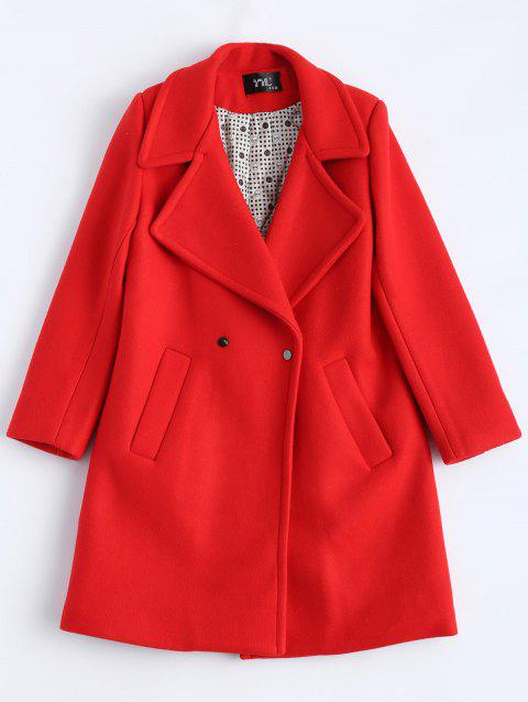 Candy Color Wool Blend Coat with Pockets - RED L