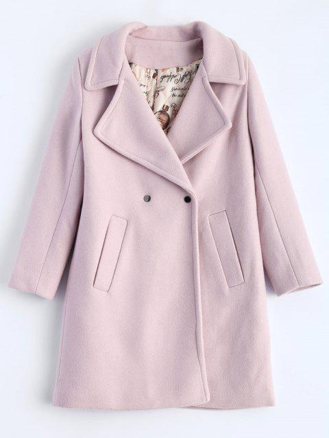 Candy Color Wool Blend Coat with Pockets - SHALLOW PINK L
