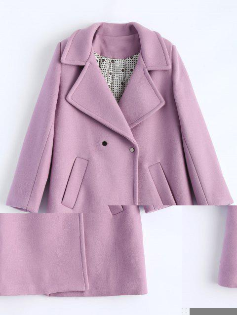 Candy Color Wool Blend Coat with Pockets - LIGHT PURPLE L