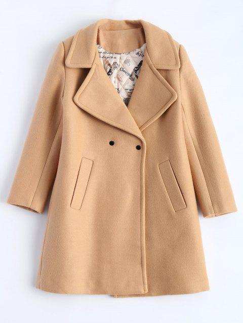 Candy Color Wool Blend Coat with Pockets - CAMEL L