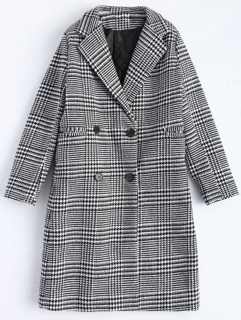 Lapel Plaid Double Breasted Coat - PLAID M