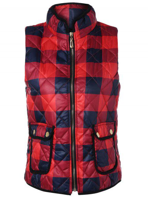 Zip Up Plaid Puffer Vest - RED XL