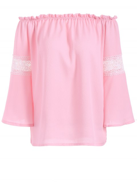 Flare empiècement en dentelle à manches Off The Shoulder Blouse - Rose M