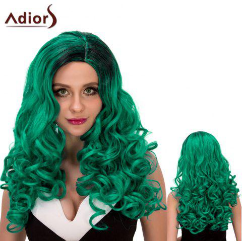Adiors Fluffy Long Wavy Oblique Parting Cosplay Synthetic Wig - GRADUAL GREEN