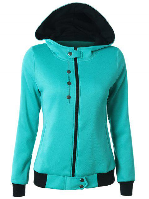 Hooded Zipper Two Tone Hoodie - GREEN S
