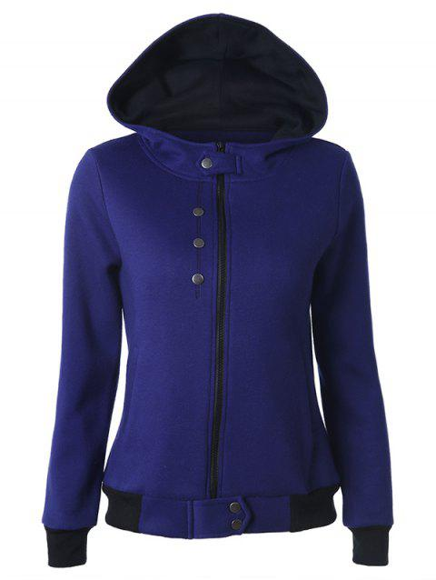 Hooded Zipper Two Tone Hoodie - DEEP BLUE S