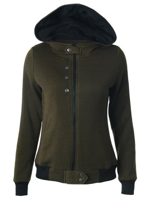 Hooded Zipper Two Tone Hoodie - ARMY GREEN XL