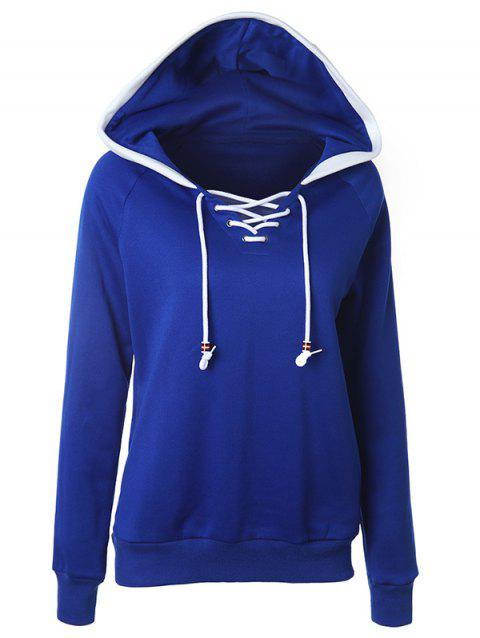 Lace Up Raglan Sleeve Two Tone Hoodie - DEEP BLUE L