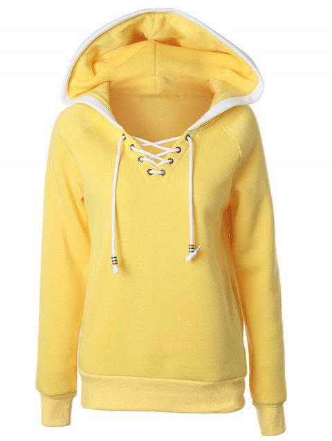 Lace Up Raglan Sleeve Two Tone Hoodie - YELLOW XL