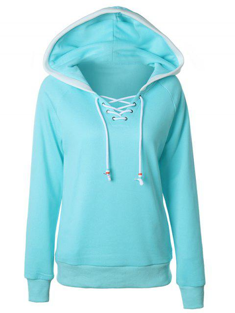 Lace Up Raglan Sleeve Two Tone Hoodie - LIGHT BLUE S