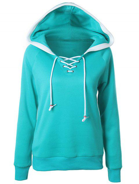 Lace Up Raglan Sleeve Two Tone Hoodie - GREEN XL