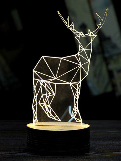 3D LED Christmas Deer Sleeping Night Light - WHITE