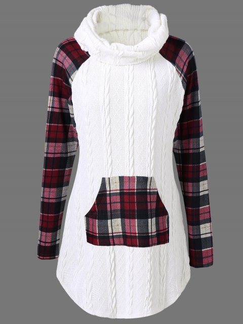 dffa742bc0f LIMITED OFFER  2019 Plaid Cable Knit Tunic Sweater In WHITE L ...
