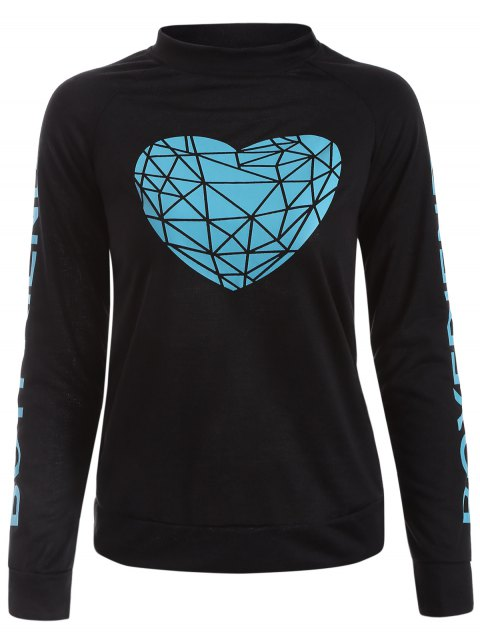 Geometric Heart Pattern Letter Sweatshirt - BLACK XL