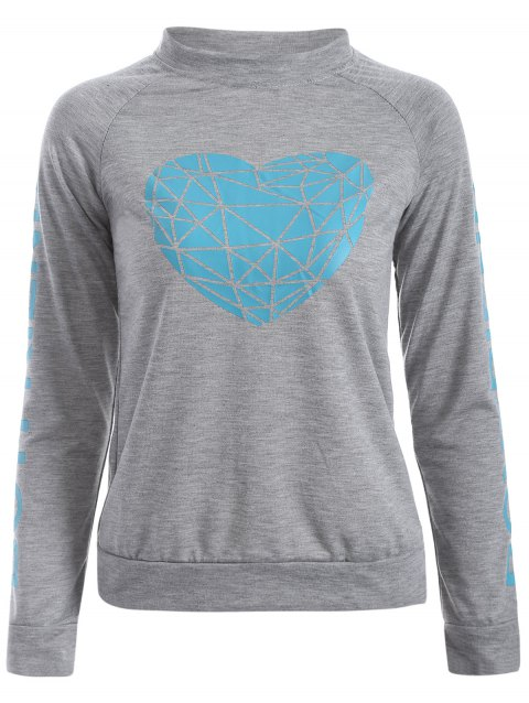 Geometric Heart Pattern Letter Sweatshirt - GRAY M
