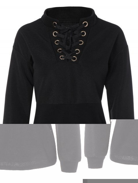Lace-Up Stand Collar Sweatshirt - BLACK S