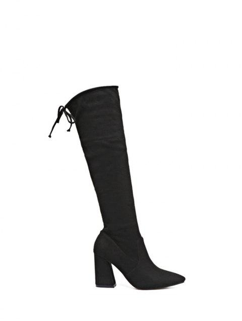 Pointed Toe Knee High Chunky Heel Boots - BLACK 37
