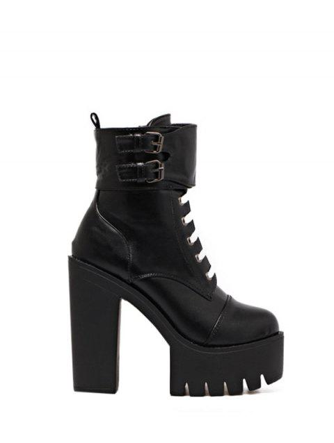 Lace Up Buckle Straps High Heel Boots - BLACK 37