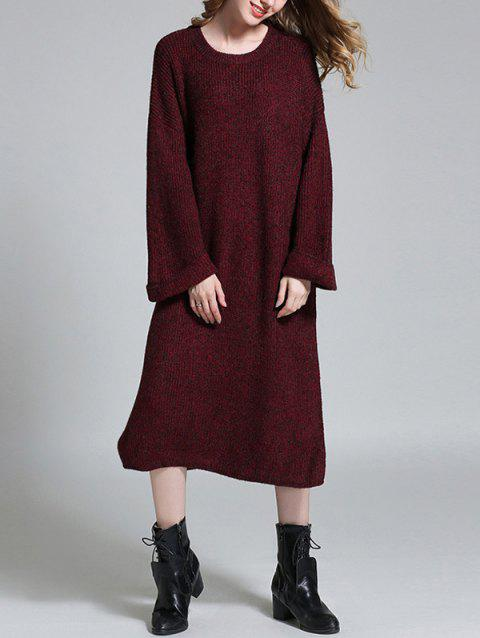 Ras du cou long Slit Maj Sweater Dress - Rouge vineux ONE SIZE