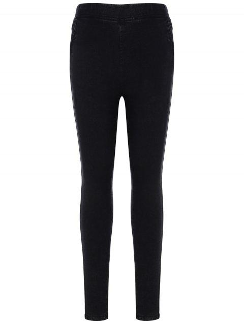 Elastic Waist Bodycon Pencil Pants - BLACK L