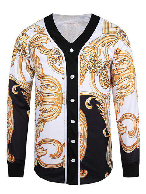 bead4611deea 17% OFF  2019 V Neck Button Front Ornate 3D Print Jacket In WHITE L ...