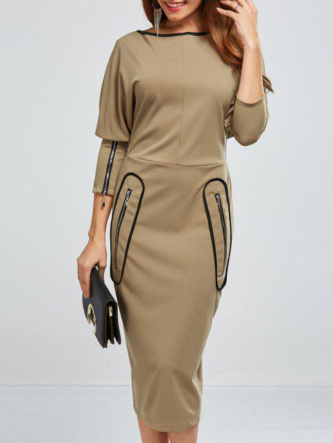 Patched Zipper Embellished Tea Length Dress - KHAKI L
