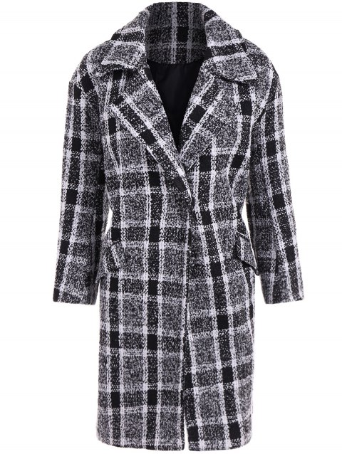 Flap Pocket Checked Coat - BLACK M