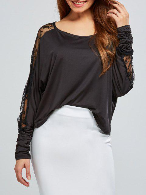 Lace Insert Batwing Sleeves Blouse - BLACK S