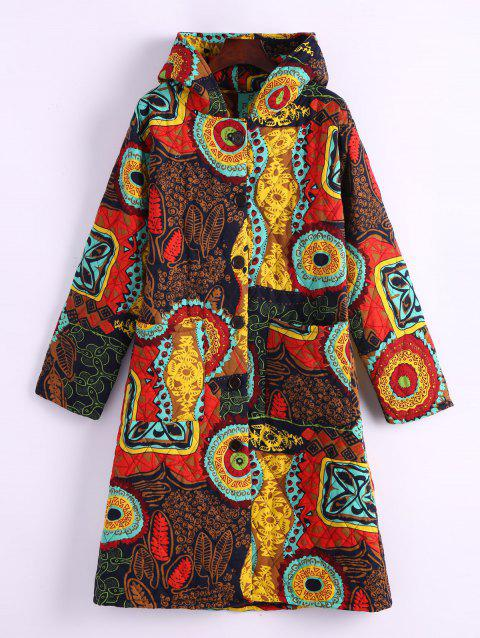 Ornate Print Hooded Quilted Coat - COLORMIX 2XL