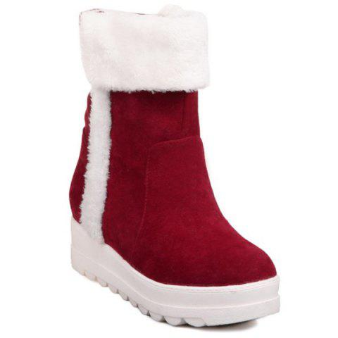 Fuzzy Flatform Mid Calf Snow Boots - RED 37