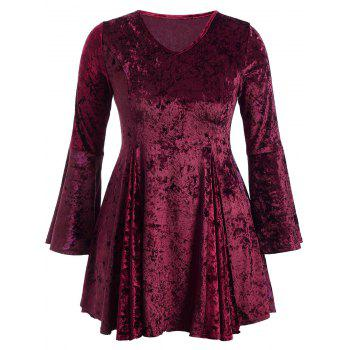 Bell Sleeve Velvet Fit and Flare Cocktail Dress