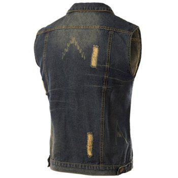 Trendy Turn-Down Collar Ripped Design Sleeveless Men's Denim Waistcoat - BLUE 3XL