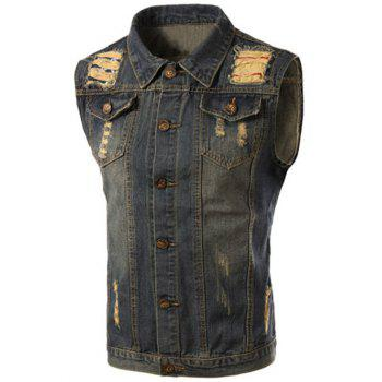 Trendy Turn-Down Collar Ripped Design Sleeveless Men's Denim Waistcoat