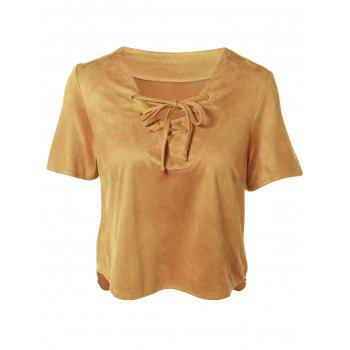 Plunging Neck Short Sleeve Lace-Up Faux Suede T-Shirt