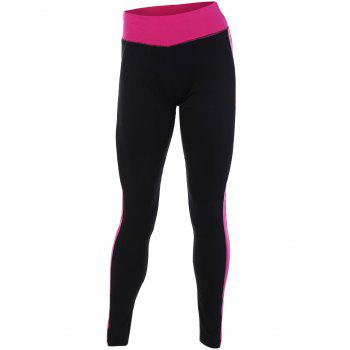 Buy Stretchy Contrast Athletic Leggings ROSE RED
