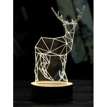 3D LED Christmas Deer Sleeping Night Light - WHITE WHITE