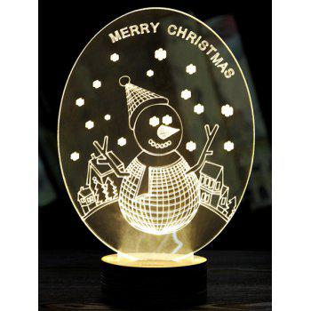 3D LED Merry Christmas Snow Man Wooden Base Sleeping Night Light - WHITE WHITE