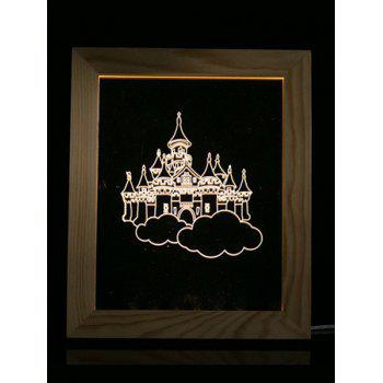 Christmas Castle Wooden Photo Frame LED Table Night Light