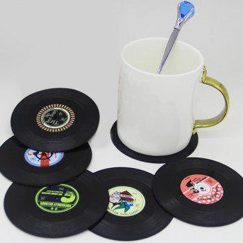 Retro 6 Pcs/ Set CD Record Shapes Heat Insulation Cup Mat