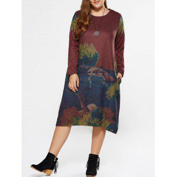 Plus Size Painting Long Sleeve Dress With Pocket