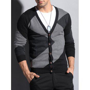 Color Matching V Neck Button Up Cardigan