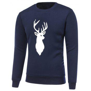 Long Sleeve Deer Print Christmas Sweatshirt