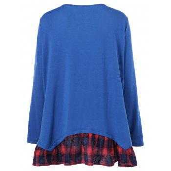 Plus Size Plaid Flounced T-Shirt - BLUE 5XL
