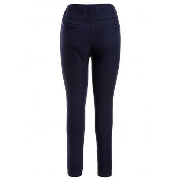 Plus Size Fleece Lined Pencil Pants - PURPLISH BLUE 2XL