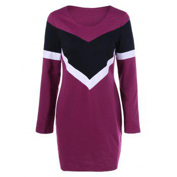 Long Sleeve Color Block T Shirt Dress