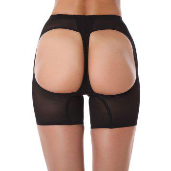 See Thru Cut Out Boyshort Panties - BLACK L