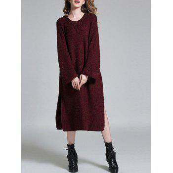 Crew Neck Long Slit Shift Sweater Dress - WINE RED ONE SIZE