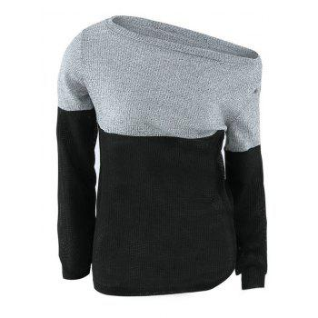 Color Block Off The Shoulder Sweater